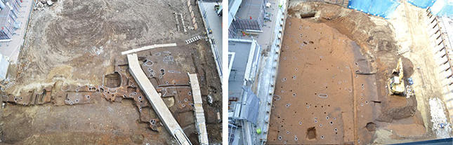 (左)江戸時代の生活面3面のうち第2面で、中央に見える穴蔵の底には床板の痕跡や釘があった(右)縄文時代の生活面全景