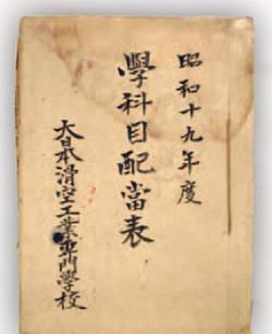 本学が吸収した筑波工業専門学校・筑波中学校の前身である大日本滑空工業専門学校(中野勝義が常務理事)の資料。法政大学史センターに現在も保存されている