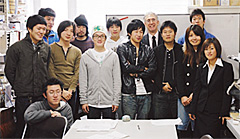 All the students of Prof. Thompson's seminar in his office on Tokorozawa Campus